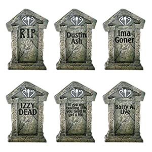 VictoryStore Yard Sign Outdoor Lawn Decorations –  Fake Tombstones – Halloween Yard Decoration – Set of 6, 21.3″ X 14.8″