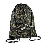MYOG Personalised Premium Drawstring Bag PE Gym Kit School P.E Kids Sport Rucksack (22 Colours) (Jungle Camo)