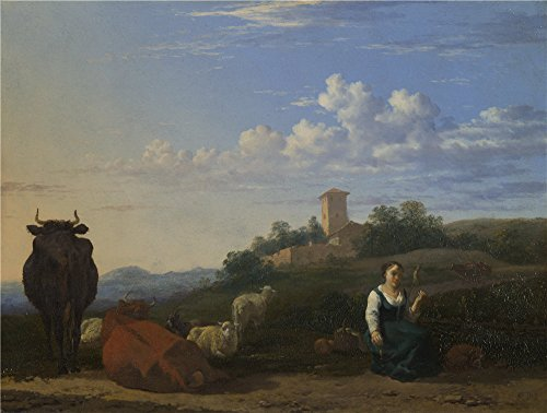 Oil Painting 'Karel Dujardin A Woman With Cattle And Sheep In An Italian Landscape' 24 x 32 inch / 61 x 81 cm , on High Definition HD canvas prints, gifts for Basement, Hallway And Living Room decor