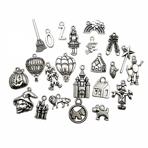 (70 PCS The Wizard of Oz Charms Collection - Mixed Castle Clowns Dorothy Scarecrow Lion Witch Magic Stick Tin Man Pumpkin Hot Air Balloon Metal Pendants for Jewelry Making DIY Findings (HM38))