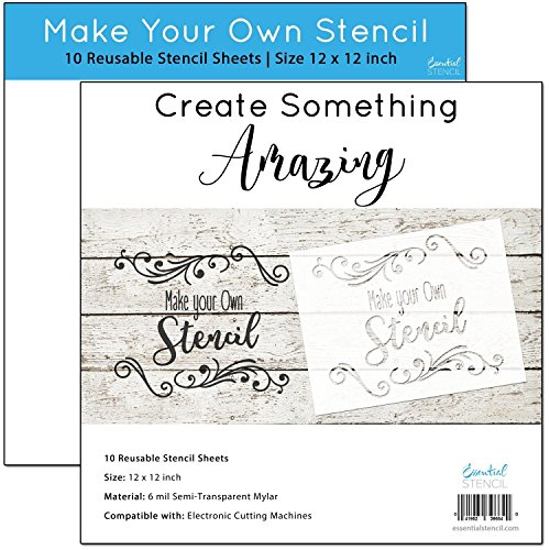 MAKE YOUR OWN STENCIL - (10 Pack) 12 x 12 inch blank stencil sheets - Ideal for use with Cricut & Silhouette machines (Mylar - Acetate Material