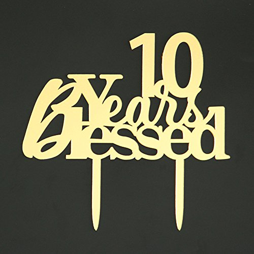 LOVELY BITON Mirrored Gold 10 Years Blessed Cake Topper Shining Number for Wedding, Birthday, Anniversary, Party Decoration.
