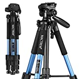 Camera Tripod Mactrem PT55 Travel Lightweight Aluminum for DSLR SLR Canon Nikon Sony Olympus DV with Carry Bag -11 lbs(5kg) Load (Blue)
