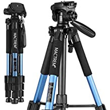Mactrem PT55 Travel Camera Tripod Lightweight Aluminum for DSLR SLR Canon Nikon Sony Olympus DV with Carry Bag -11 lbs(5kg) Load (Blue)