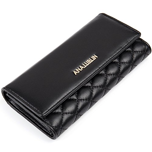 Women Lady Lambskin Long Wallet Purse Multi-card Holder Fashion Clutch Black - ANA LUBLIN ()