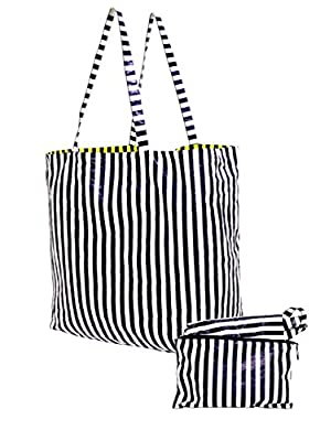 Earthwise Tyvek® Reversible Reusable Grocery Shopping Tote Bag w/ Cosmetic Pouch