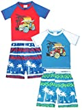 Sweet & Soft Baby Boys 4-Piece Rash Guard and Trunk Swimsuit Set (Truck, 12 Months)'