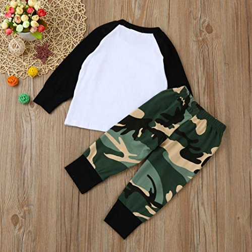 Omiky® Neugeborenes Säuglingsbaby-Buchstabe-T-Shirt Tops + Camouflage-Hosen-Ausstattungs-Kleidung-Satz Weiß