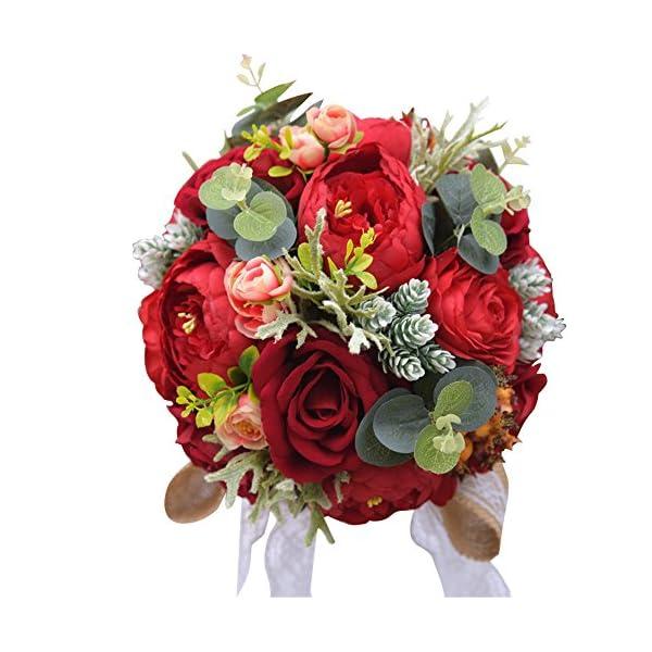 KUPARK Handmade Romantic Peony Hydrangea Artificial Flowers Blossom Decor Bridal Bridesmaid Bouquet Home Wedding Decoration Gift for Birthday Valentine's Day