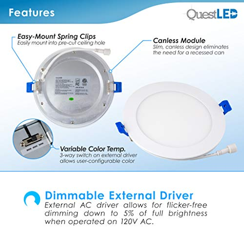 6'' Slim Recessed Panel Ceiling Downlight Ultra Thin Wafer with Junction Box; 14W=50W Equivalent; 3-in-1 CCT: 3000k/4000k/5000k, 950 lumens, 120V, Dimmable, IC Rated, ETL/ES/JA8 (6Pack) by Quest LED (Image #2)