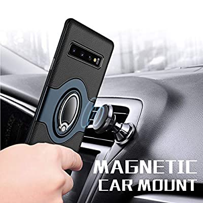 eSamcore Samsung Galaxy S10 Plus Case Ring Holder Kickstand Cases + Dashboard Magnetic Phone Car Mount [Navy Blue]: Electronics