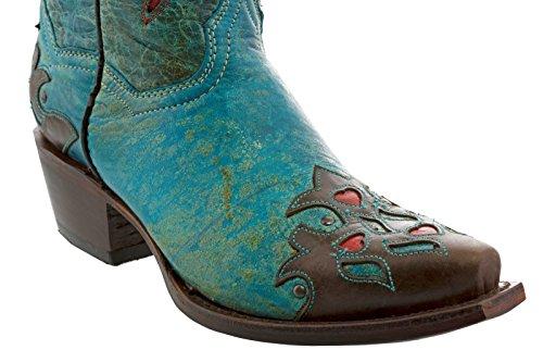 Cowboy Professional Mujeres Brown & Turquoise Robin Cowboy Botas De Cuero Snip Turquoise