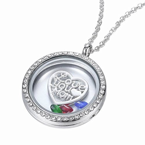 WeiVan Love Heart Floating Charm Locket Pendant Necklace 30mm Locket Mothers Day Gift