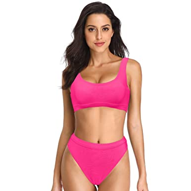 f26a29adb7 Amazon.com  Dixperfect Two Pieces Bikini Sets Swimsuit Sports Style Low  Scoop Crop Top High Waisted High Cut Cheeky Bottom  Clothing