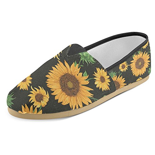 InterestPrint Women's Loafers Classic Casual Canvas Slip On Fashion Shoes Sneakers Flats Size 10 Floral Design Sunflowers on Black Background