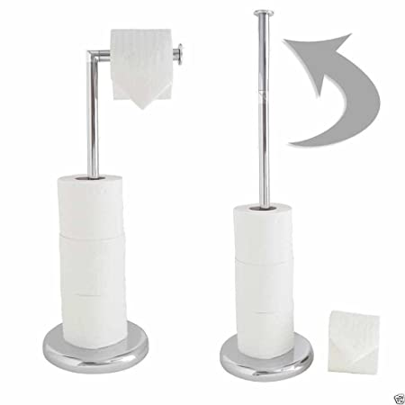 Stainless Steel Toilet Roll Holder Stand Swivel Free Standing Holds