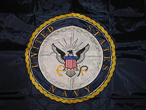 AES 3x5 US U.S. Navy Emblem Seal Crest Embroidered Sewn Double Sided Solarmax Nylon Flag 3'x5' Banner with Grommets Gift Set