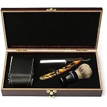 LuckyFine Straight Shaving Razor Set Men Cut Throat Folding Knife Bristle Hair Brush Strop Wooden Gift Box