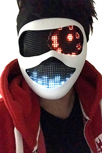 Original Huboptic CYBORG EYES FX - White Mask - DJ Mask Face Expression Light Up LED Eyes Neon Smiley Smile Wrench Bot Rave Robot Party Mask Costume -