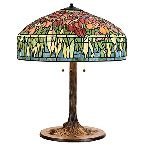 Bieye L10663 30 inches Tulip Tiffany Style Table Lamp Base with Tree Trunk Base Made of Brass