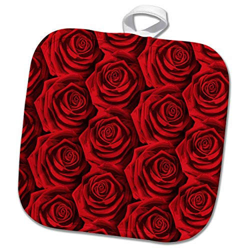 3dRose Sven Herkenrath Art - Close up of Red Roses Nature Photography - 8x8 Potholder (PHL_293557_1)