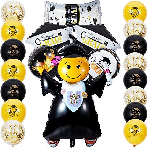 Graduation Balloon Decoration Set Graduation Balloon with Crown Key Pattern Graduation Balloons Confetti Balloons Latex Balloons]()