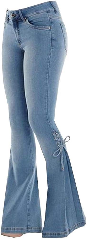 Qianxitang Women's Wide Leg Jeans High Waist Trousers Bow Bell Bottom Denim Pants