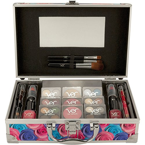 Ver Beauty Multicolor Floral Makeup Gift Set with Aluminum Vanity Case and Mirror