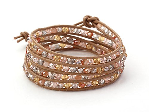 Pink Champagne Rose Mix Crystal Wrap Bracelet Multilayer Handmade Genuine Brown Leather 4 (Emerson Wrap)