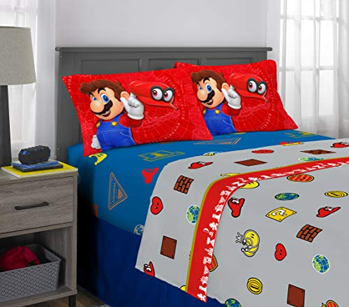 - Nintendo Super Mario Odyssey Kids Bedding Soft Microfiber Sheet Set, 4 Piece Full Size, Multi-Color