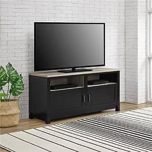 Mueble de TV, 2 cajones y 2 estantes abiertos, para televisores de hasta 60 pulgadas de ancho, almacenamiento cerrado, organizador, muebles para el hogar, habitación familiar, dormitorio, varios colores, libro electrónico BONUS: