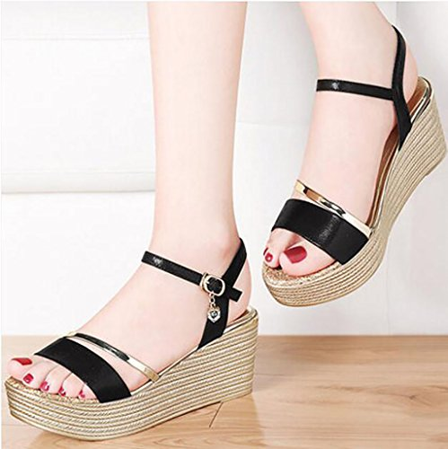 Wedge Sandals Shoes High Heel Summer Sandals Roman Sandals Flat Sandals,Fashion sandals (Color : A, Size : 35) B