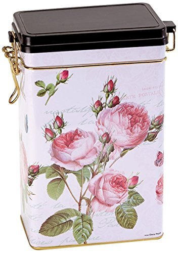 ROSE GARDEN - Traditional Style - Rectangular Coffee Tin / Tea Caddy / Kitchen Storage Tin/Canister - hermetically sealed by Buzz