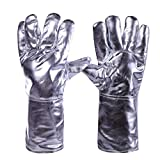 MOOLO Aluminum Foil High Temperature Resistance Gloves Heat Proof Defense Radiation 500 Degrees Industrial Protection Labor Protection Leather Gloves Five Fingers (Color : A)