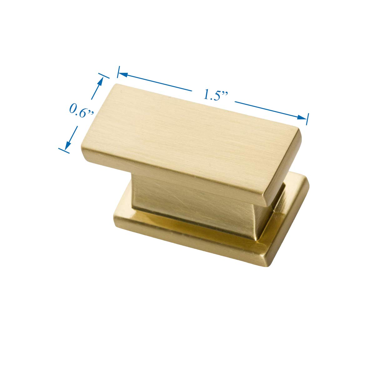 Southern Hills Satin Brass Cabinet Knobs - Rectangle - Pack of 5 - Brushed Brass Kitchen Cabinet Knobs - Cabinet Hardware Pulls - SHKM001-BRS-5 by Southern Hills (Image #3)