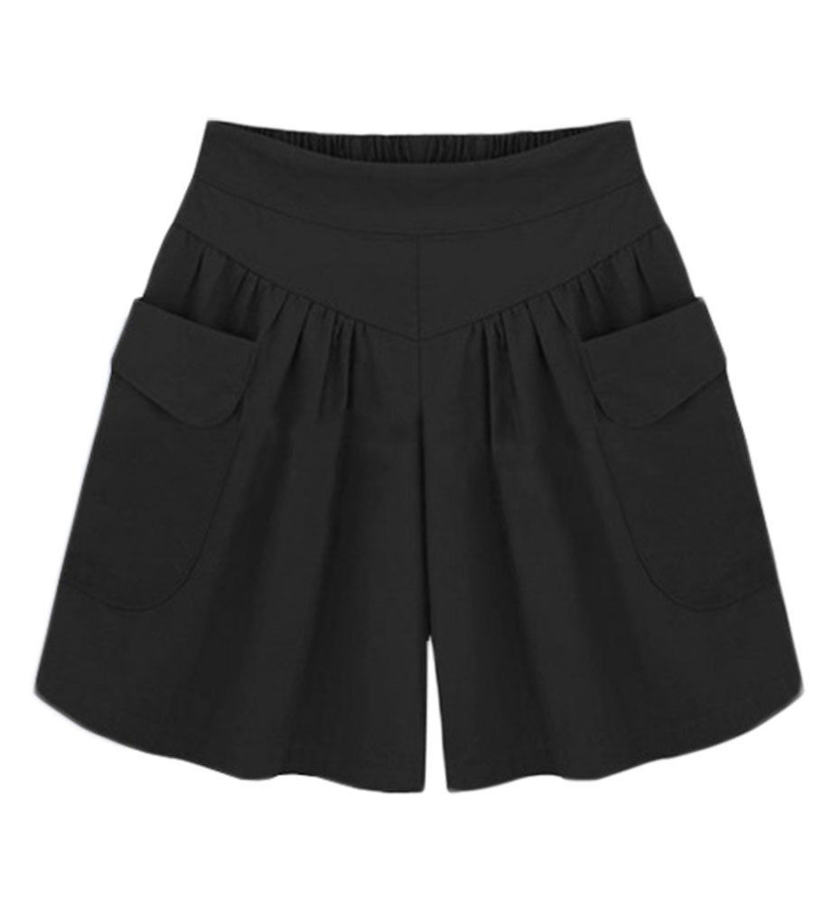 AvaCostume Women's Summer Comfortable Culottes Elastic Waist Wide Leg Pocket Casual Shorts Black M