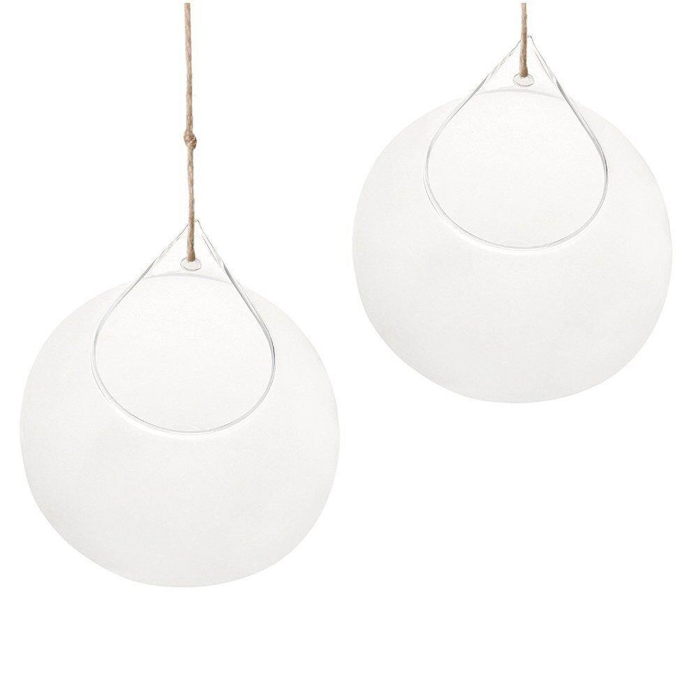 SWISSELITE Biloba Glass Hanging Orbs, Glass Plant Terrariums/Glass Hanging Candle Holder Set of 2 pcs (4.92 inches/2Pcs)