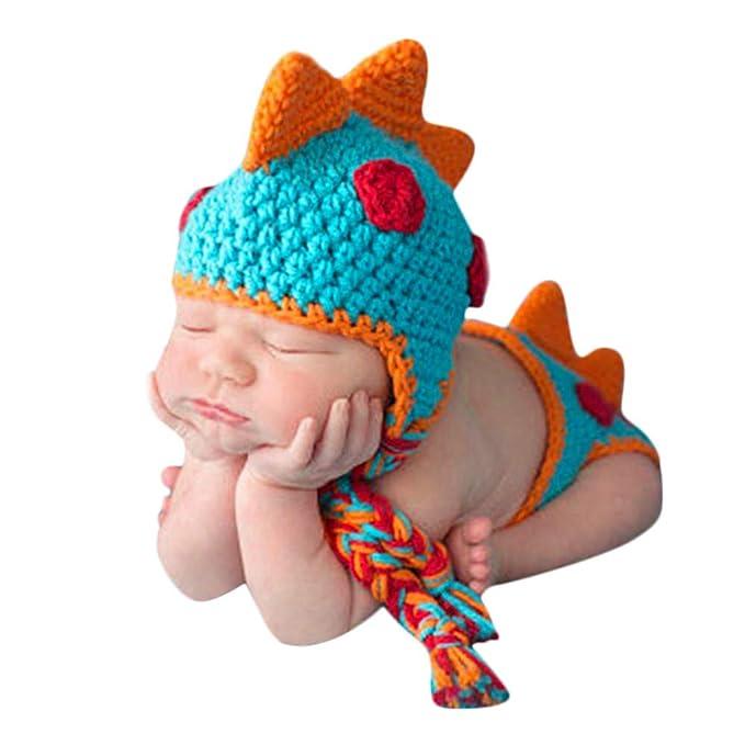 Amazon.com: kaiCran Newborn Baby Dinosaur Knit Outfit Hat ...