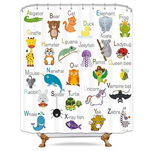 Colorful Zoo Animal - Cdcurtain Animals Education Shower Curtain Panel Funny Teach Kids Cute Cartoon English Words Zoo Colorful Decor Fabric Bathroom Set Polyester Waterproof 72x72 Inch Free Plastic Hooks 12-Pack