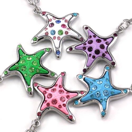 Pink Purple White Green Blue Starfish Keychain Dangle Key Ring Charm Multicolor Enamel Rhinestones Sea Lovers Perfect Gift for Mom