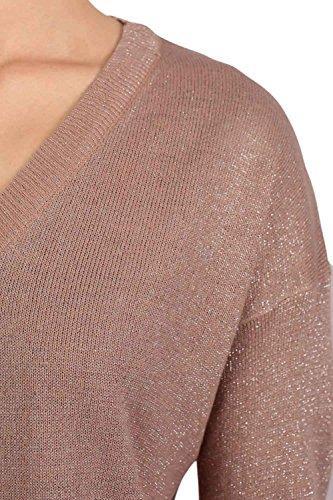 PILOT® v cuello de jersey de altura baja metálica de manga larga de punto Rosa empolvado