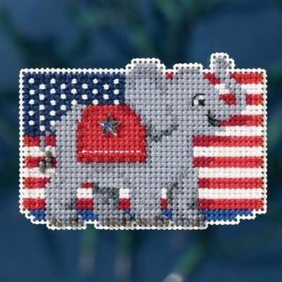 - Patriotic Red Beaded Counted Cross Stitch Ornament Kit Mill Hill 2016 Autumn Harvest MH181624