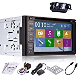 Pupug 6.2-Inch Touch Screen Universal Double Din In Dash GPS Car DVD Player with HD Rear Camera