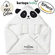 5 Piece Extra Soft Premium Panda Hooded Baby Towel, Washcloths and Bath Gloves Set, %100 Natural Turkish Cotton Towels with Hood Thick & Soft for Boy, Girl, Newborn and Infant