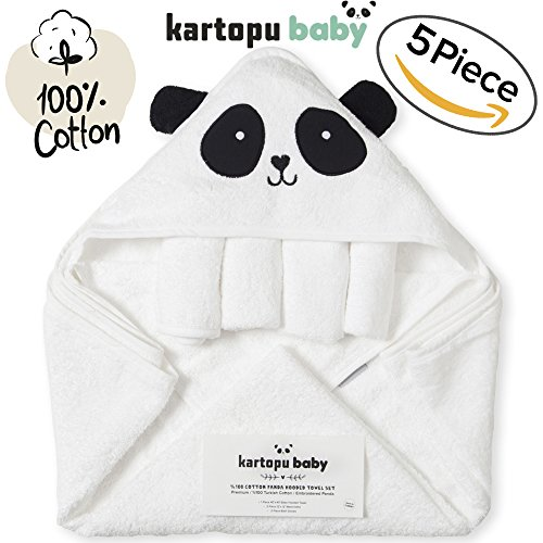 5 Piece Extra Soft Premium Panda Hooded Baby Towel, Washcloths and Bath Gloves Set, %100 Natural Turkish Cotton Towels with Hood Thick & Soft for Boy, Girl, Newborn and Infant (5 Piece Girls Natural)