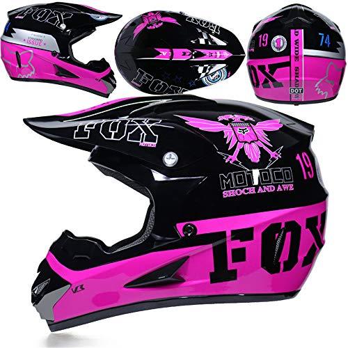 (yaning Adult Offroad Helmet Goggles Gloves Gear Combo Purple Splatter)