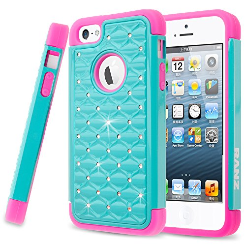 iPhone SE Case, iPhone 5 / 5S Case, RANZ Hot Pink/Turquoise Spot Diamond Studded Bling Crystal Rhinestone Dual Layer Hybrid Cover Silicone Rubber Skin Hard Case for Apple iPhone SE/iPhone 5/ 5s (Cover 5s Iphone Rhinestones)