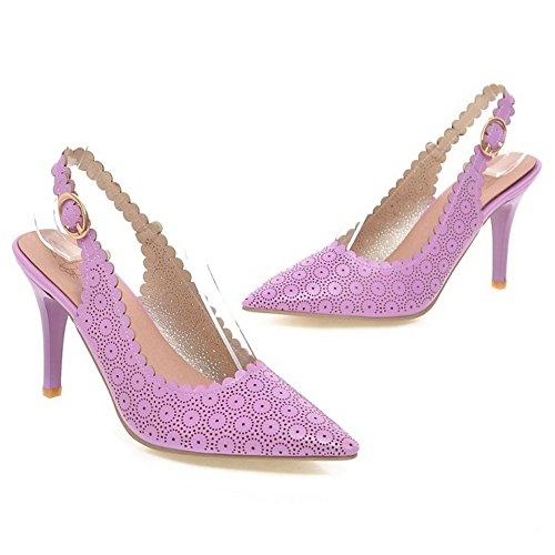 COOLCEPT Damen Mode Spitze Pumps Schuhe Slingback Purple-61