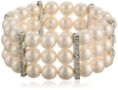 Pearl Slide Bracelet (Cream Color Simulated Pearl and Clear Crystal Triple Row Stretch Bracelet)