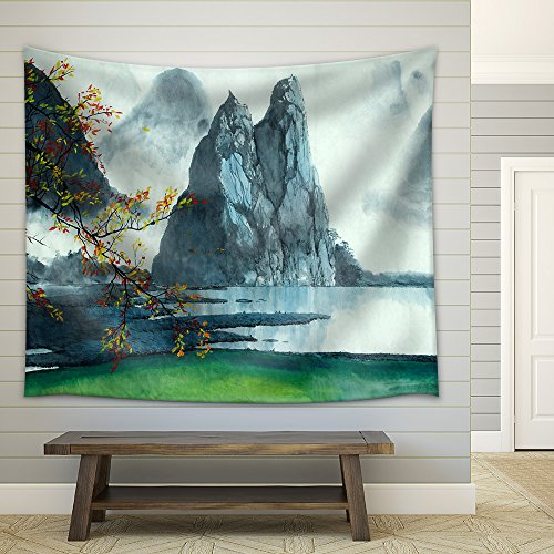 Chinese Mountains Fog Autumn and Lake Fabric Wall Tapestry